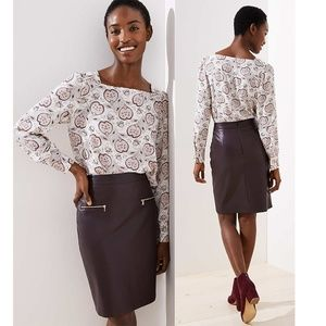 NWT Loft Faux Leather Pencil Skirt Brown 20